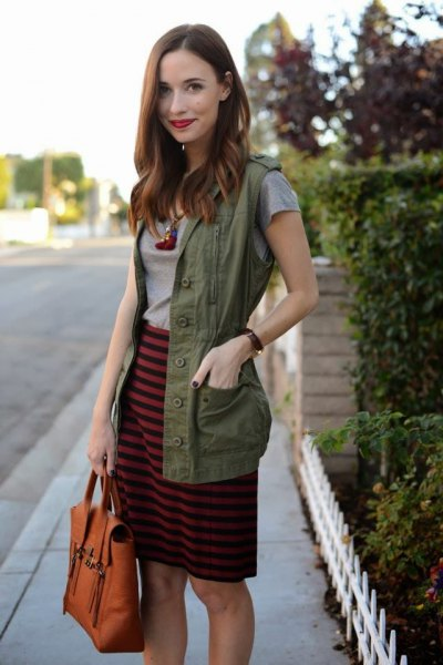 gray and black striped knee-length skirt with military vest