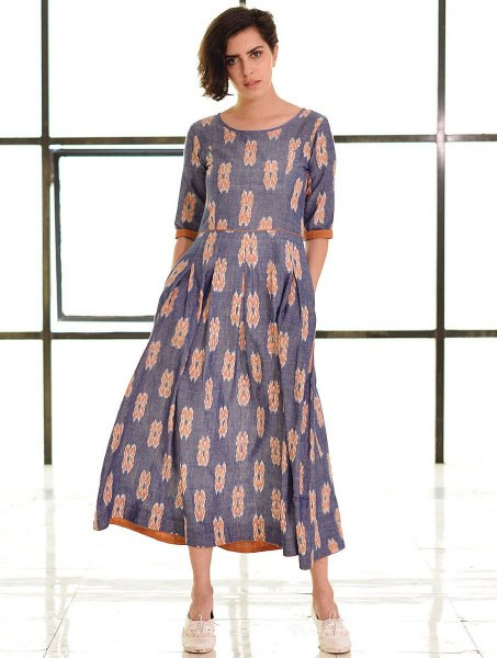 gray and blushing pink midi summer cotton dress with half sleeves