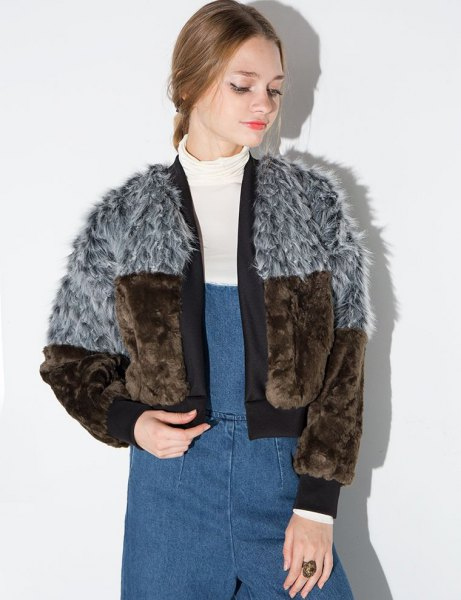 gray and brown color block faux fur bomber jacket and denim suspender dress