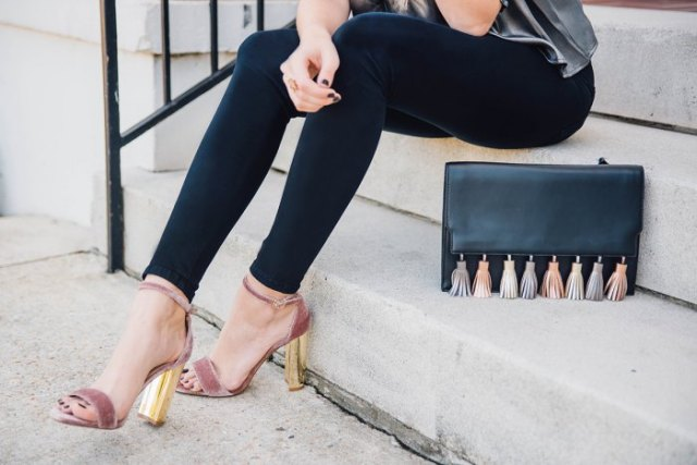 gray and gold velvet heels with a silver silk top