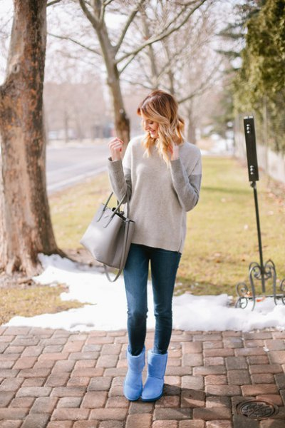 gray and ivory sweaters, sky blue fluffy ankle boots