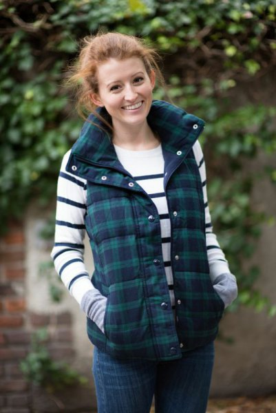 gray and dark blue plaid vest white and dark blue striped sweater