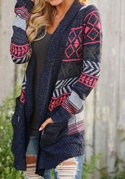 gray and navy blue cardigan with tribal print and mini denim shorts in blue