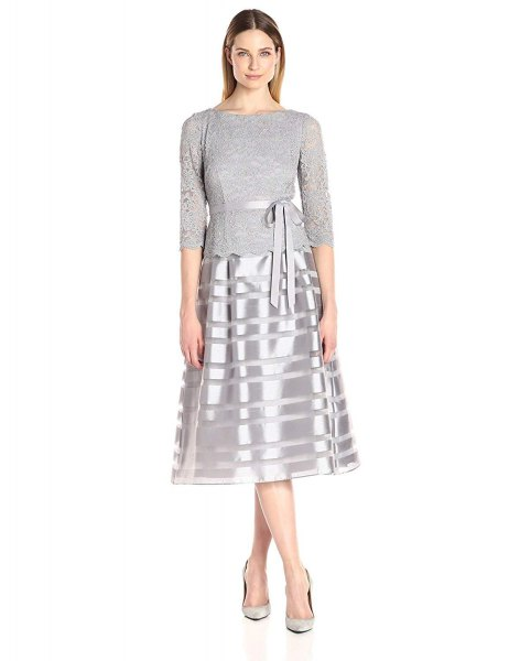 gray and silver, medium-length dress with a fit and flare