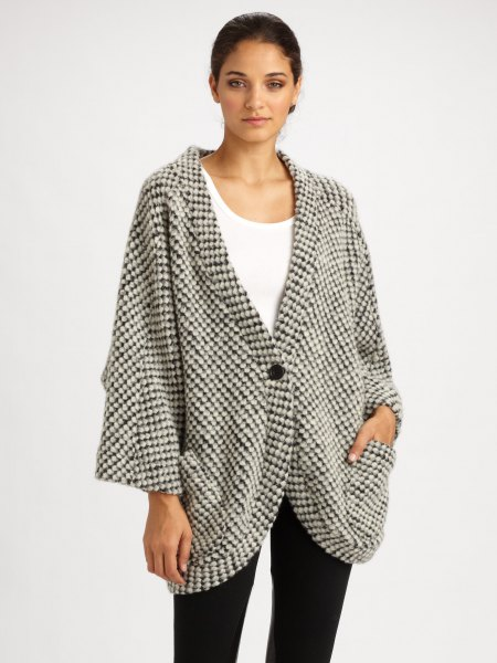 gray and white checked, oversized cardigan with tank top