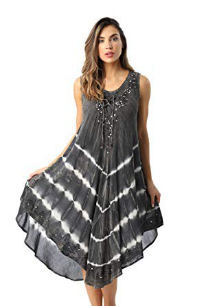 gray and white chiffon maxi tank shift dress