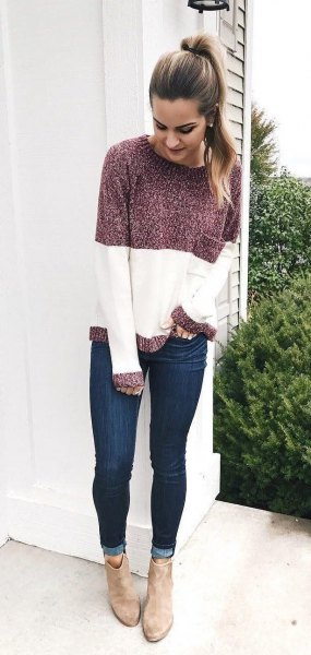 gray and white color block sweater with round neck