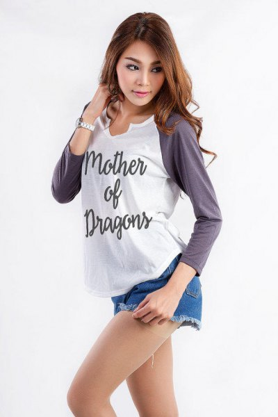 gray and white graphic baseball long sleeve t-shirt with blue denim shorts