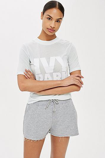 gray and white graphic t-shirt with mini sweat shorts