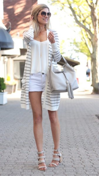 gray and white long cardigan with light blue mini shorts