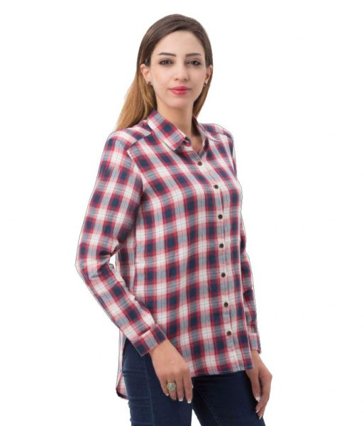 gray and white plaid boyfriend rayon shirt