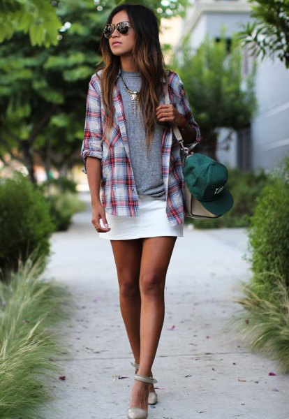 gray and white checked boyfriend shirt with mini skirt