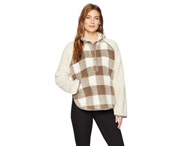 gray and white checked fleece poncho black skinny jeans