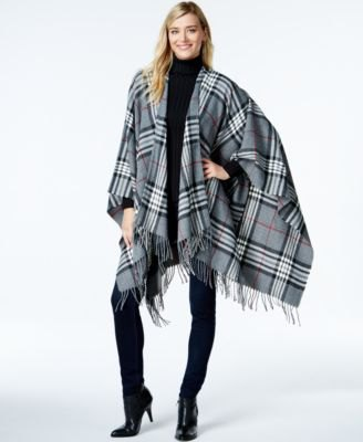 gray and white plaid poncho all black outfit