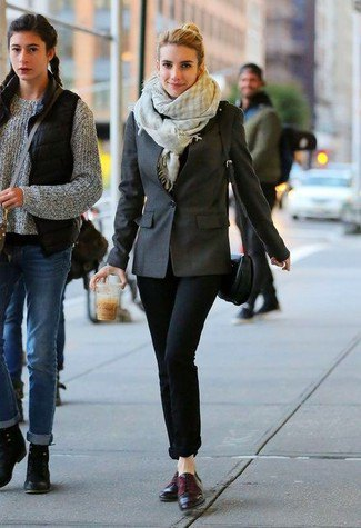 gray and white checked scarf with blazer and cuffed jeans