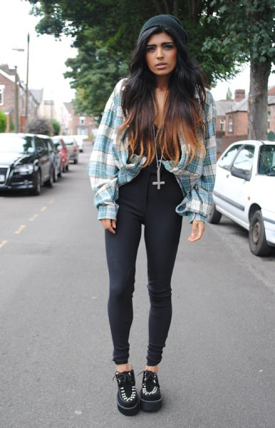 gray and white checked vintage boyfriend shirt with high-waisted black jeans