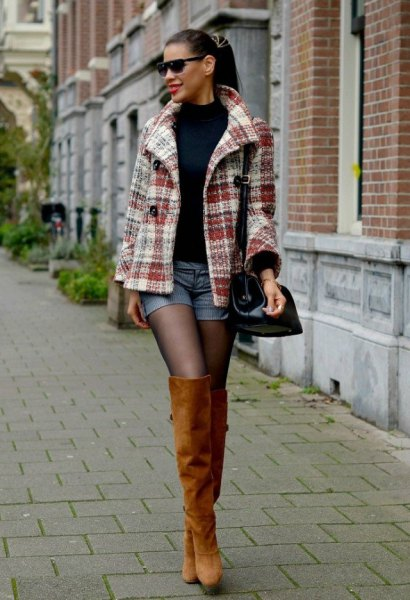 gray and white checked wool coat with blue denim shorts