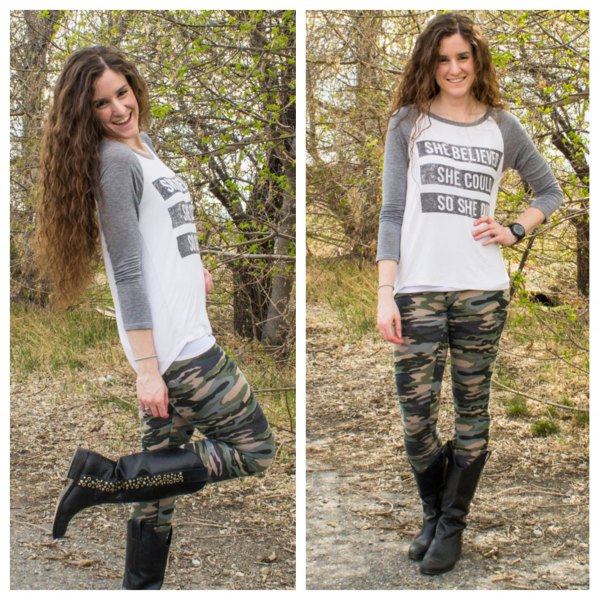 Long-sleeved T-shirt with gray and white print, camouflage gaiters and black leather boots