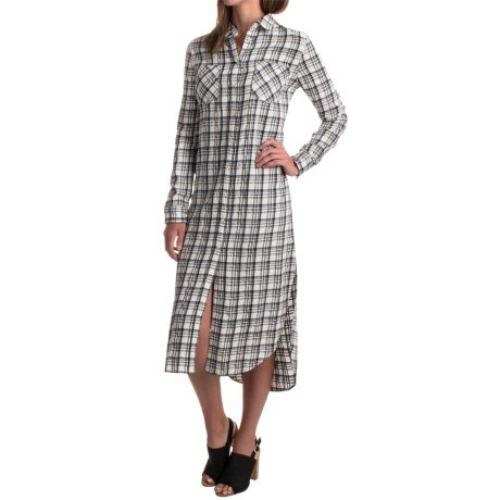 gray and white checked rayon midi dress