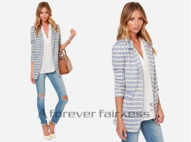 gray and white striped cotton blazer with blouse with V-neck