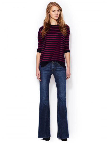 gray and white striped sweater with round neckline and dark blue, flat flare jeans