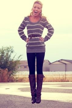 gray and white striped knitted sweater boots