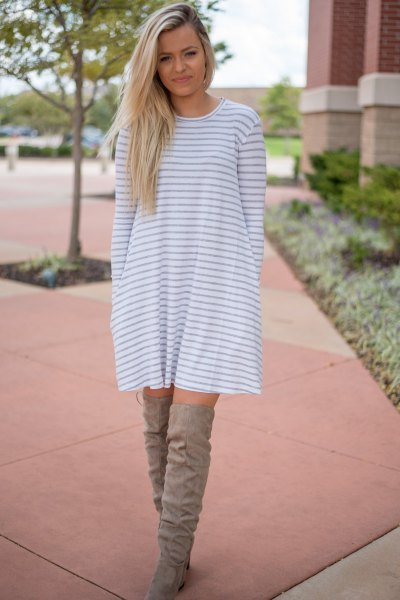 gray and white striped long-sleeved swing dress