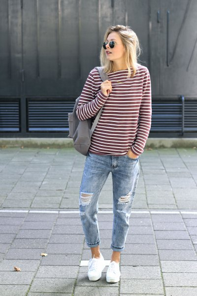 gray and white striped long-sleeved T-shirt with boyfriend cuffed jeans