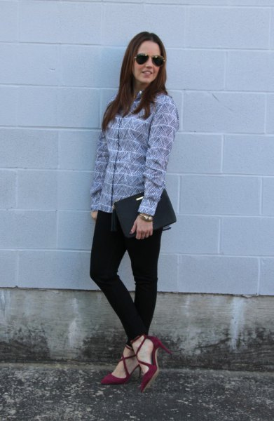 gray and white striped shirt with burgundy suede strap shoes