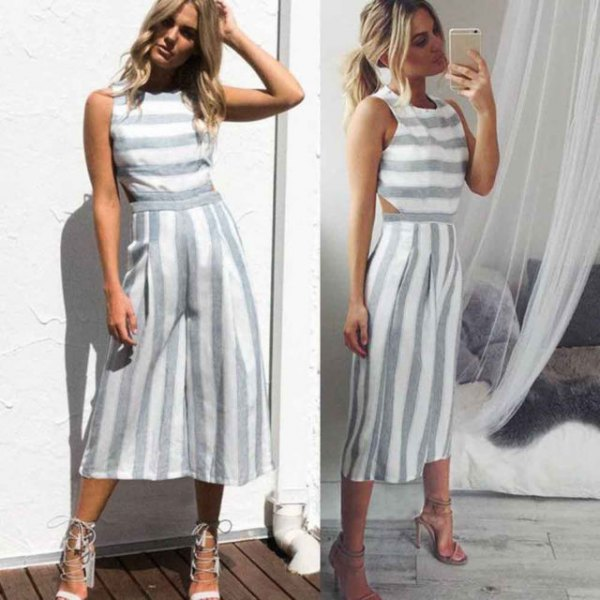 gray and white striped sleeveless top with matching, short cut trousers with wide legs