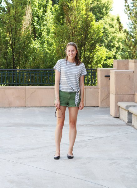 gray and white striped t-shirt with green mini shorts