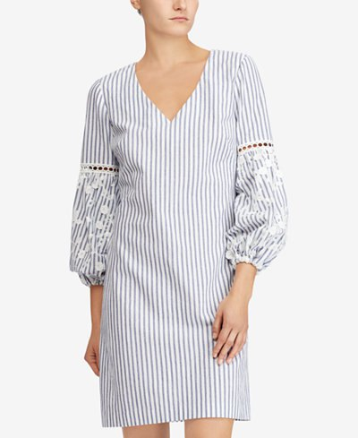 gray and white vertical striped shift dress with puff sleeves
