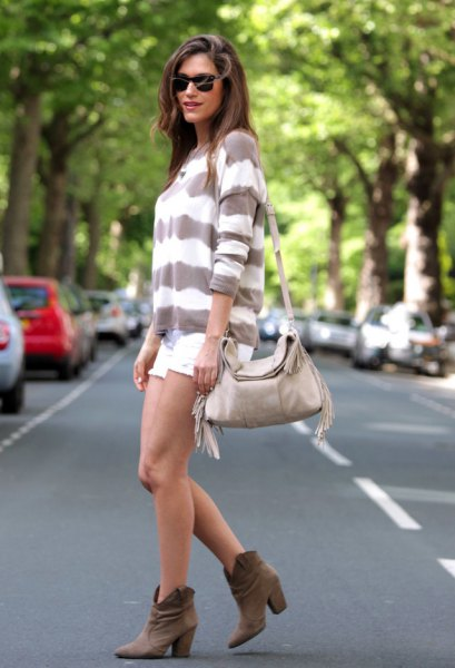 gray and white, wide striped sweater with mini shorts