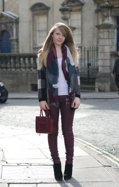 gray and white wool blazer burgundy jeans