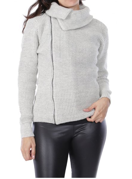 gray asymmetrical cardigan with black leather gaiters