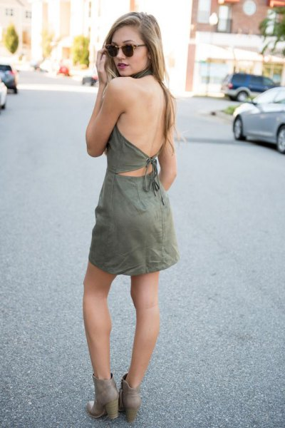 gray backless suede mini dress ankle boots