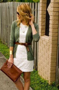gray cardigan with belt, white lace dress
