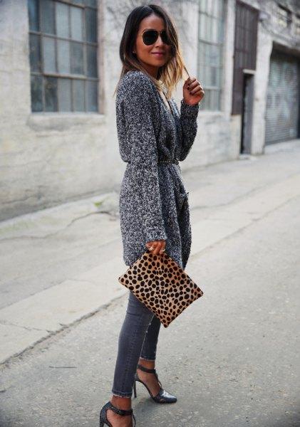 gray cardigan with cardigan and belt