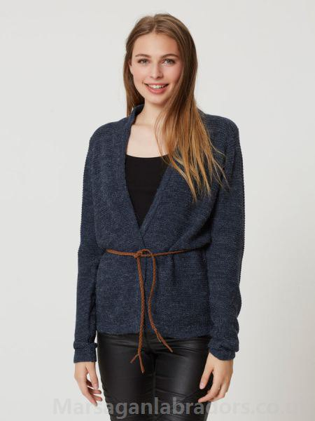 gray wrap-knit blazer with belt and black leather pants