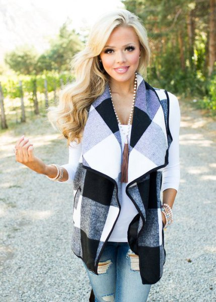 gray black and white plaid waistcoat ripped skinny jeans