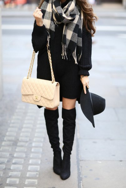 gray black and white checked wool coat with sweater dress