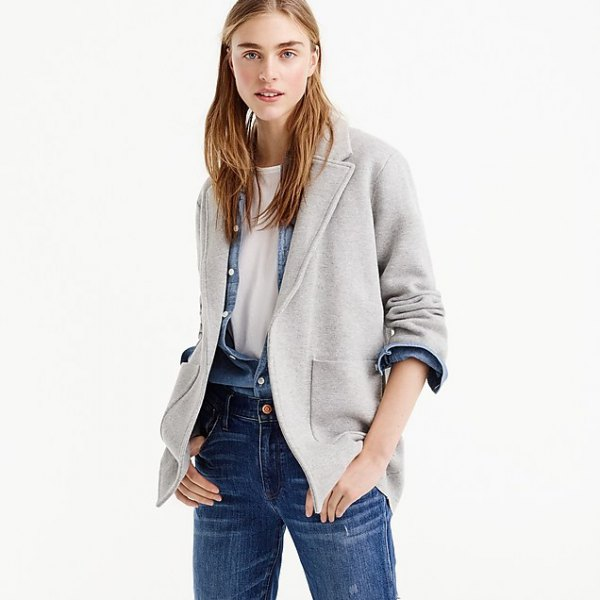 gray blazer with chambray shirt and blue jeans