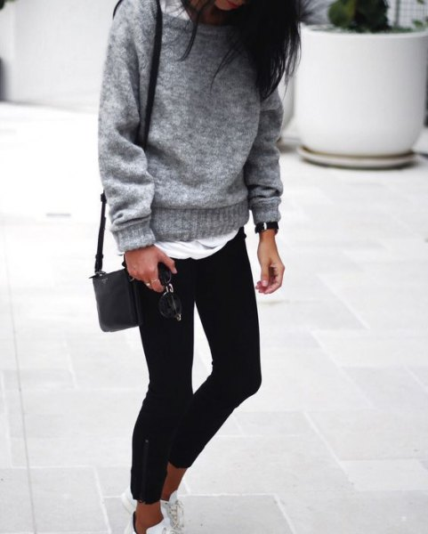 gray chunky sweater with boat neckline over white long t-shirt