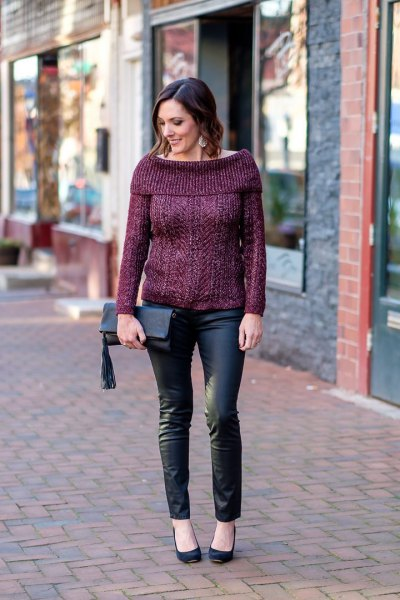 gray sweater with boat neckline, jeans and ballerinas