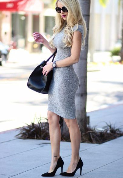 Shoes - Wheretoget | Knee length body con dress, Grey bodycon .