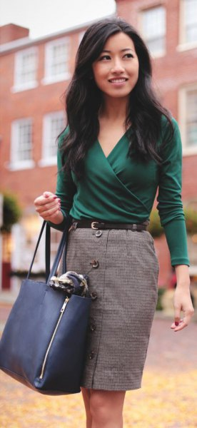 gray pencil skirt outfit with button placket in front