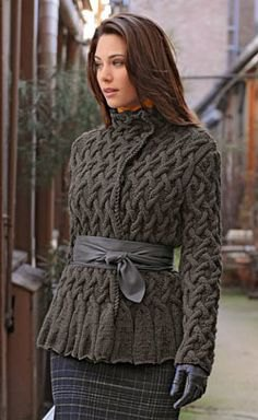 gray cable knit wrap jacket with checked pencil skirt