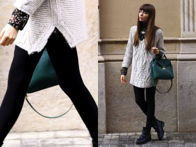 gray tunic sweater with cable neckline, leggings and black leather handbag