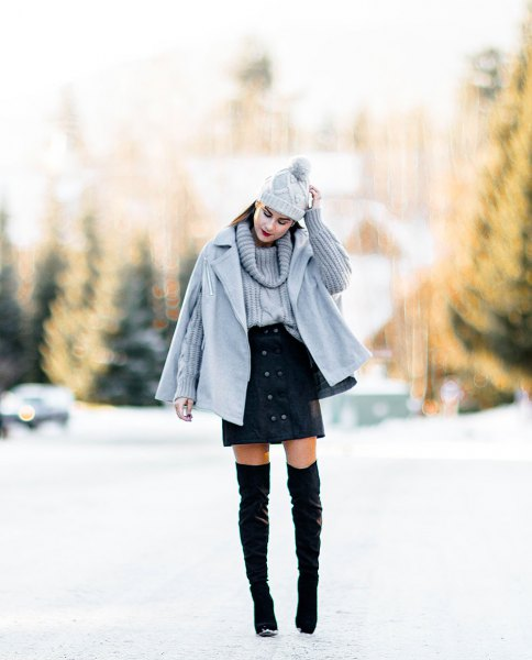 gray cape coat to match the cable-knit sweater mini skirt