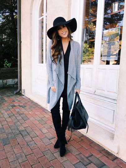 gray cardigan leather leggings outfit